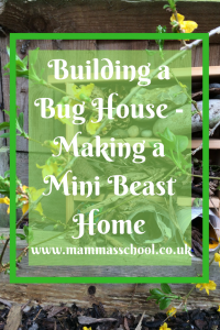 Building a bug house, mini beast home, garden bugs, garden mini beasts, insect hotel www.mammasschool.co.uk