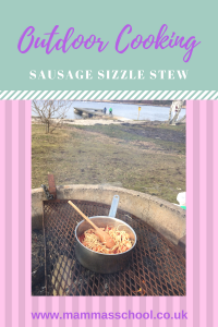 Sausage sizzle stew one pot stew outdoor cooking campfire cooking www.mammasschool.co.uk