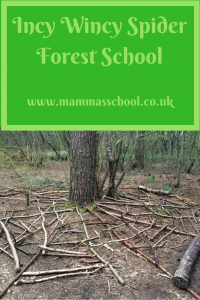 Incy Wincy Spider forest school, learn spiders outdoor learning nature learning mini beasts www.mammasschool.co.uk