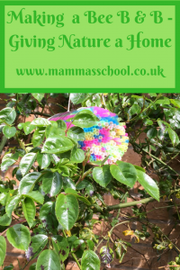 Making a Bee B & B giving nature a home, bee house, bees, www.mammasschool.co.uk