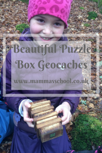 Geocaching, puzzle box geocaching, outdoor fun. www.mammasschool.co.uk