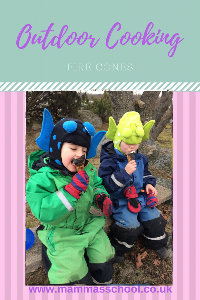 campfire fire cones - tasty treat, outdoor cooking, bushcraft, campfire food, camping, hiking, campfire cooking, www.mammasschool.co.uk