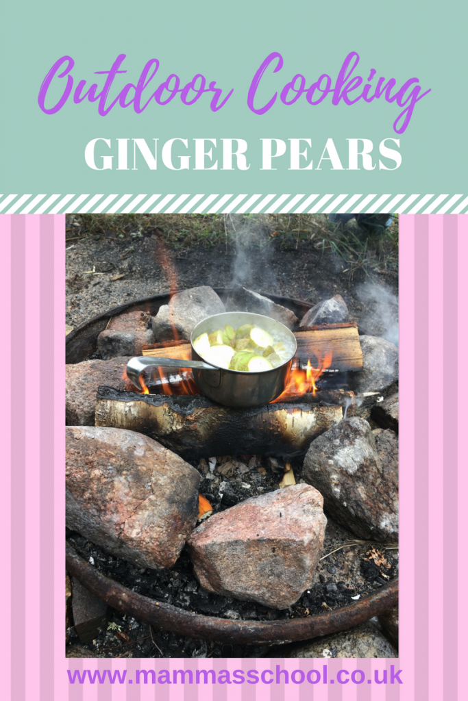Ginger pears, autumn campfire food, healthy campfire food, campfire fruit, www.mammasschool.co.uk