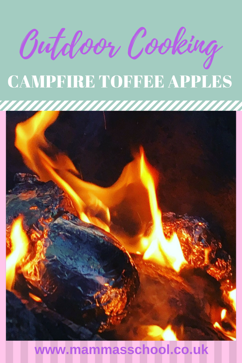 outdoor cooking, campfire food, toffee apples, campfire toffee apples, bushcraft food, www.mammasschool.co.uk