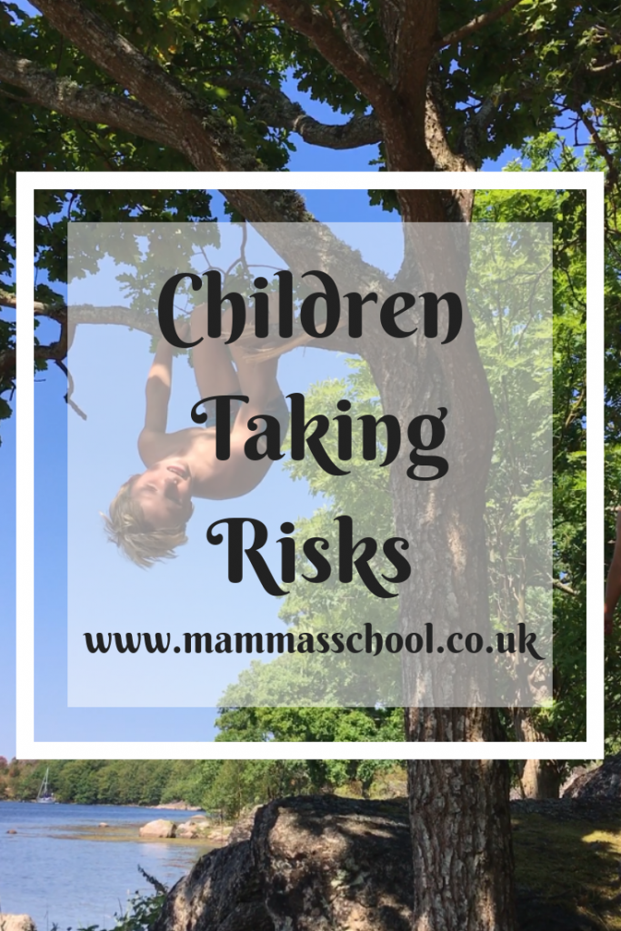 Children taking risks, risks, risk taking, climbing trees, building a treehouse, www.mammasschool.co.uk