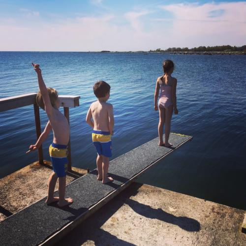 Children on diving board