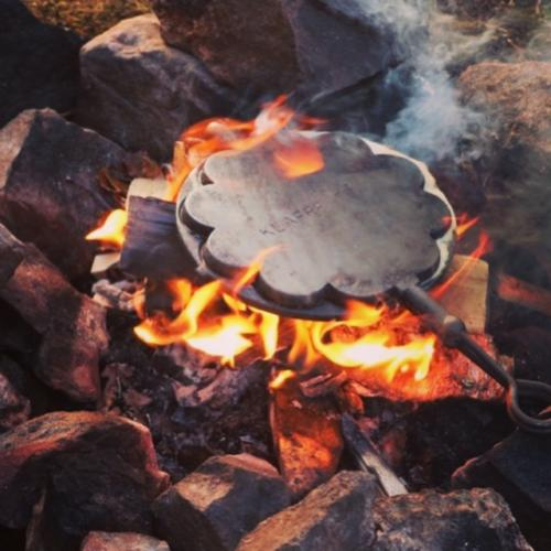 Waffles on campfire